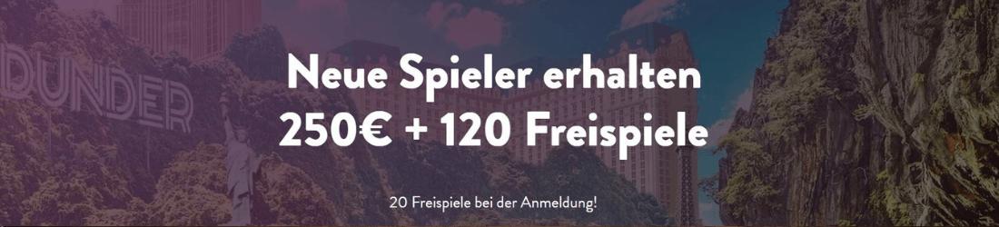 dunder €250 bonus + 120 free spins