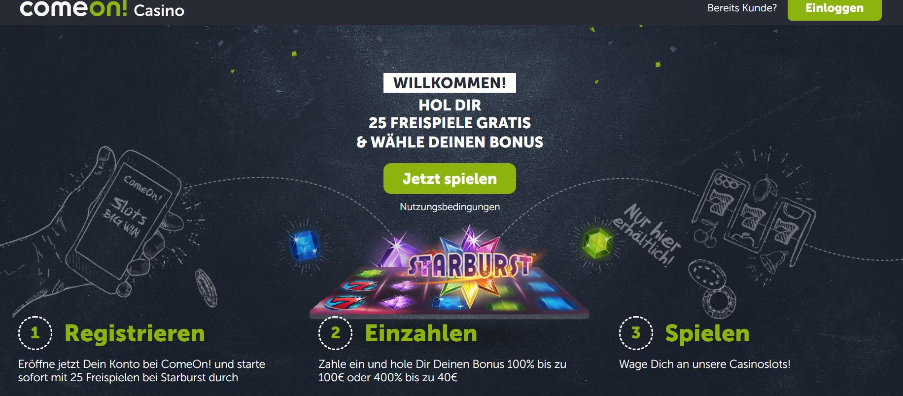 comeon 25 free spins