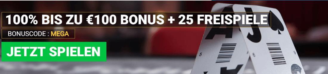 mega casino €100 bonus + 25 free spins