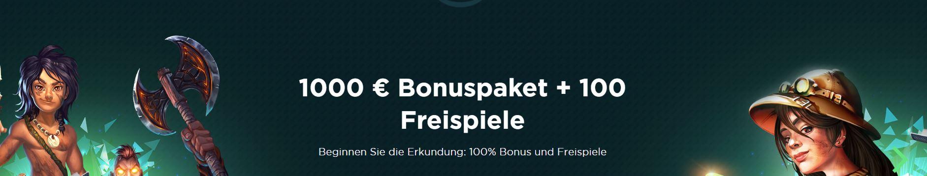spela €1000 bonus + 100 free spins