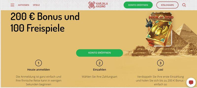 Karjala Kasino – Einzahlungsbonus mit 100 Free Spins und 200 €