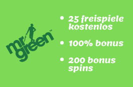 Mr Green Casino - 25 Free Spins kostenlos