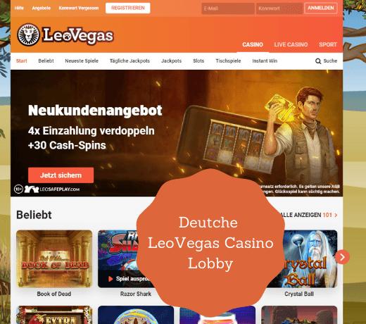 Deutche Leovegas Casino Lobby