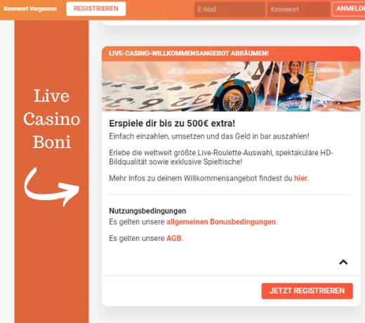 Live casino bonus Leovegas €500