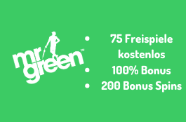 Mr Green Casino - 75 Free Spins kostenlos