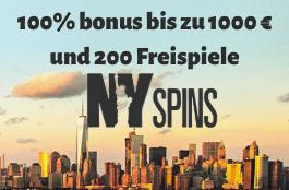 NySpins 1000 euro bonus und 200 spins