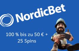 NordicBet Casino - 100 % bis zu 50 € + 25 Spins