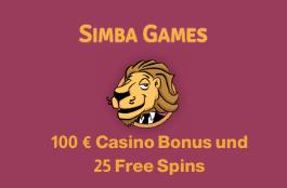 Simba Games DE 100 euro bonus und 25 spins
