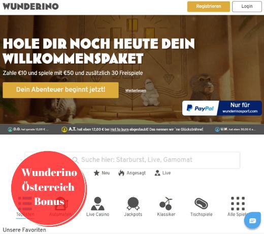 Wunderino Österreich Bonus