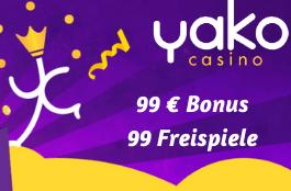 Yako Casino Information - 99 Freispiele und 99 € Bonus