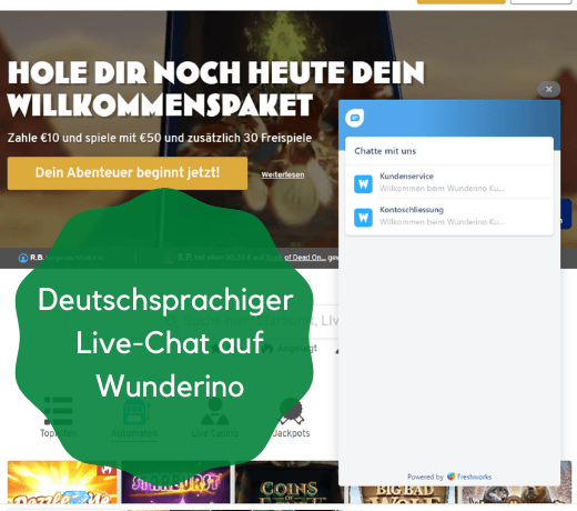 live chat bei wunderino