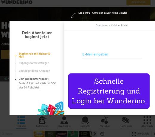 schnelle registrerung und anmeldung bei wunderino