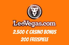 LeoVegas Casino - 200 Freispiele plus 2.500 € Casino Bonus