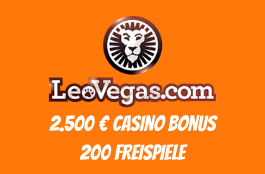 LeoVegas Schweiz - 200 Freispiele plus 2.500 € Casino Bonus