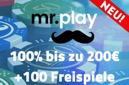 mr play 100% bonus und 100 free spins