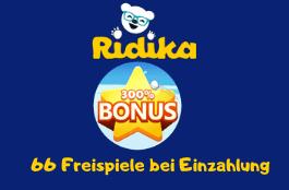 ridika DE 300% bonus und 66 free spins