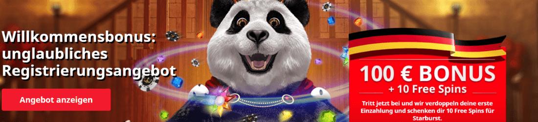 royal panda DE 100% bonus und 10 freispiele