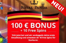 Royal Panda Casino - 10 Freispiele ohne Einzahlung