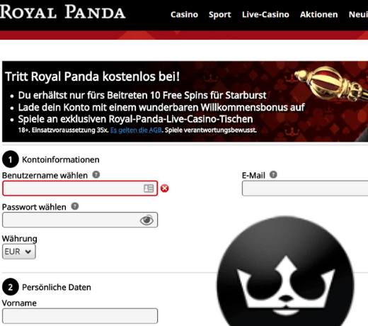 Royal Panda DE Register