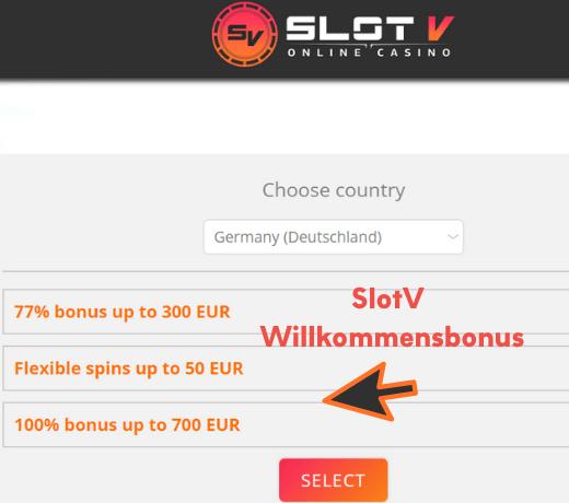 SlotV Willkommensbonus