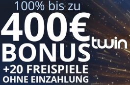 twin 20 spins und 400 euro bonus