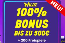 Wildz - 200 Freispielen und bis zu 500 € Bonus