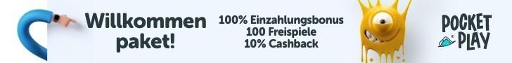 pocket play 100% bonus und 100 freispiele