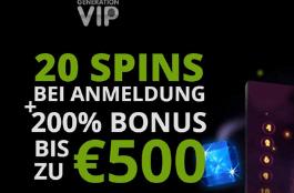Generation VIP Casino - €500 Bonus und 120 Free Spins