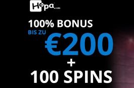 hopa DE 200 euro bonus und 100 spins