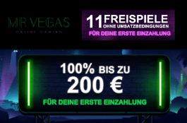 Mr Vegas - Willkommensangebot mit 11 Freispielen ohne Umsatzbedingungen